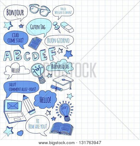 Language school linear doodle icons on notebook paper Hand drawn images