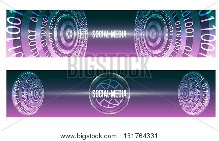 Set of two banners with binary code and social media icon