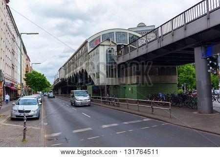 Berlin Germany - May 17 2016: historical Goerlitzer Bahnhof in Berlin-Kreuzberg. Its a Berlin metro station on the viaduct of the U1. It lies in the Kreuzberg district with a wide range of nightlife