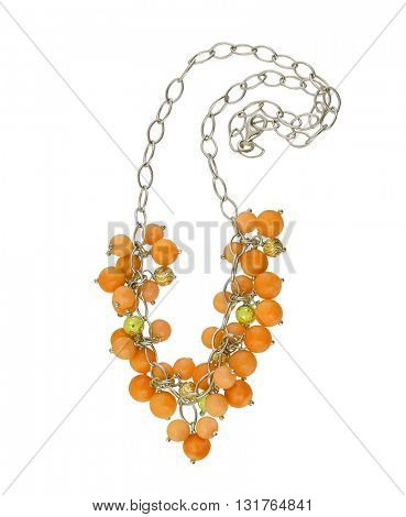 yellow necklace isolated on white background
