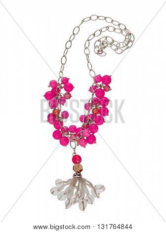 pink necklace isolated on white background