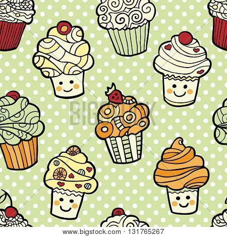 Seamless pattern with cute smiling cupcakes on green dotted background. Vector illustration.