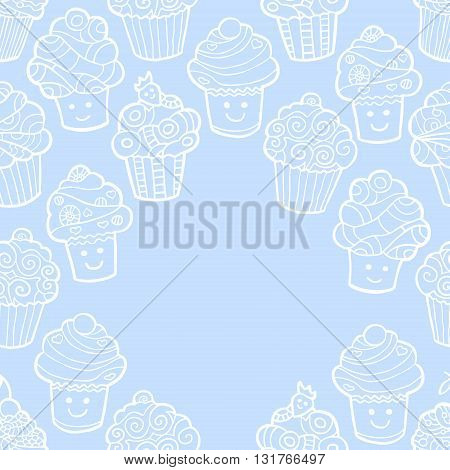 Blue background with cute doodle cupcakes. Vector illustration.