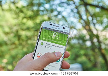 MONTREAL CANADA - MAY 23 2016 : Google Android Device Manager application on Samsung S7 screen. Android Device Manager locates lost devices and helps keep it and the data inside it safe and secure