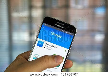 MONTREAL CANADA - MAY 23 2016 : Google Evevnts application on Samsung S7 screen. The Google Event app is a one stop resource developed to provide event attendees.