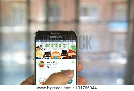 MONTREAL CANADA - MAY 23 2016 : Google application on Samsung S7 screen. Androidify is an app to create accessorize and share Android characters.
