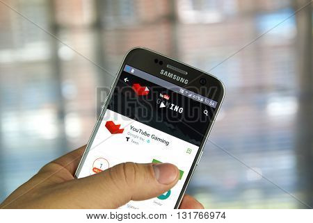 MONTREAL CANADA - MAY 23 2016 : Google YouTube Gaming application on Samsung S7 screen. The YouTube Gaming community is a place for Gamers to discuss Gaming.