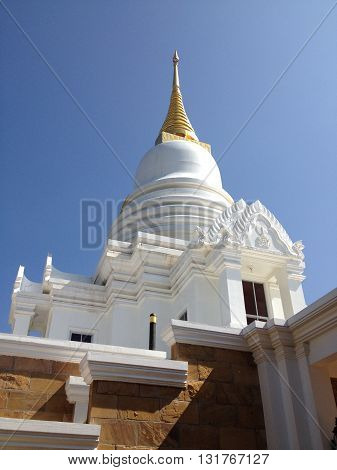 White Pagoda Thai Temple Mount in Korat Thailand.