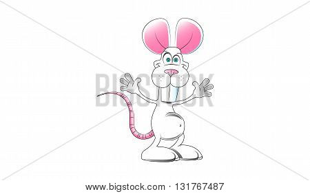 white gray small cute image cheerful cartoon mouse