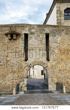 Puerta del Sol in Ciudad Rodrigo Salamanca Spain. Access to the city by defensive walls
