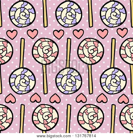 Seamless pattern with lollipops and hearts on dotted violet background. Vector illustration