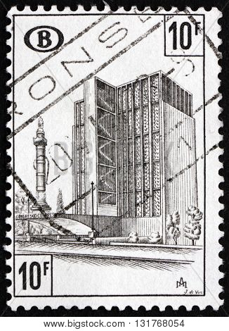 BELGIUM - CIRCA 1968: a stamp printed in the Belgium shows Congress Station Brussels circa 1968