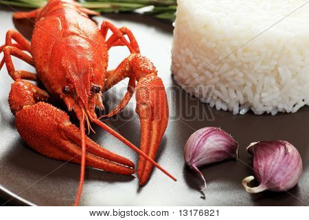A dish with steamed white rice and boiled crawfish.