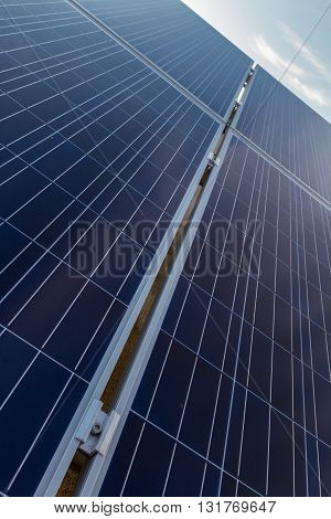 Photovoltaic solar panels shot from diagonal perspective