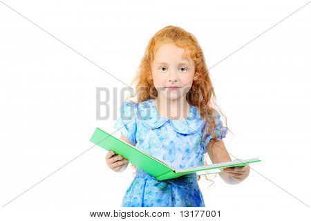 Portrait of a little girl reading a  book. Isolated over white background.
