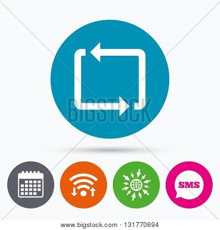 Wifi, Sms and calendar icons. Repeat icon. Loop symbol. Refresh sign. Go to web globe.