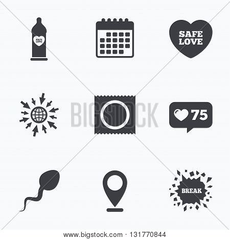 Calendar, like counter and go to web icons. Safe sex love icons. Condom in package symbol. Sperm sign. Fertilization or insemination. Location pointer.