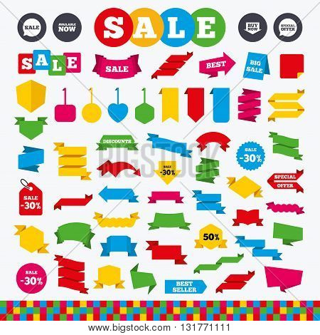 Banners, web stickers and labels. Sale icons. Special offer speech bubbles symbols. Buy now arrow shopping signs. Available now. Price tags set.