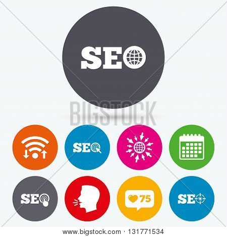 Wifi, like counter and calendar icons. SEO icons. Search Engine Optimization symbols. World globe and mouse or hand cursor pointer signs. Human talk, go to web.