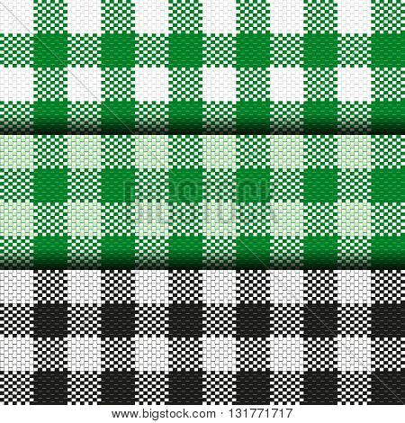 Checkered Tablecloth Seamless pattern. Square Pattern Cloth set.