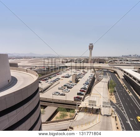 Phoenix Sky Harbor Airport, May 28th 2016.  Phoenix Airport recorded record numbers of visitors in March 2016.