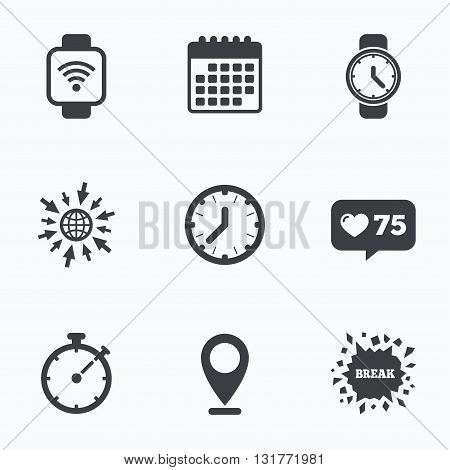 Calendar, like counter and go to web icons. Smart watch wi-fi icons. Mechanical clock time, Stopwatch timer symbols. Wrist digital watch sign. Location pointer.