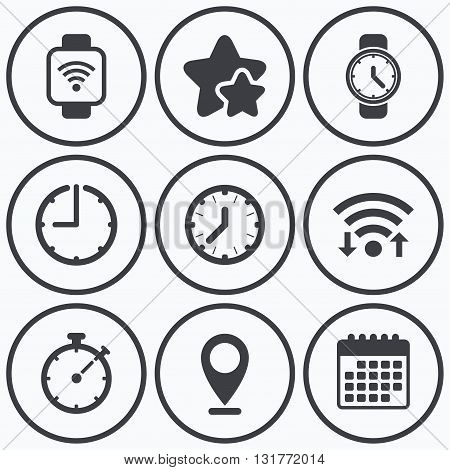 Clock, wifi and stars icons. Smart watch wi-fi icons. Mechanical clock time, Stopwatch timer symbols. Wrist digital watch sign. Calendar symbol.