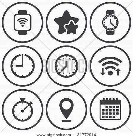 Clock, wifi and stars icons. Smart watch wi-fi icons. Mechanical clock time, Stopwatch timer symbols. Wrist digital watch sign. Calendar symbol.
