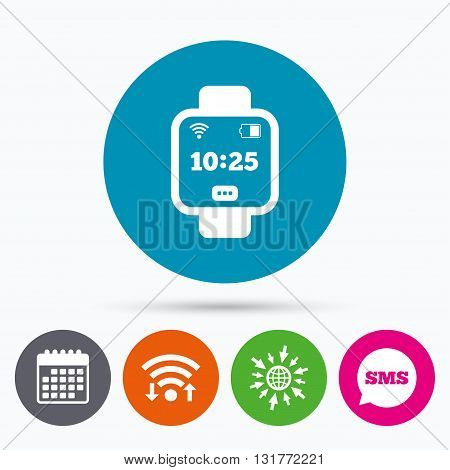 Wifi, Sms and calendar icons. Smart watch sign icon. Wrist digital watch. Wi-fi and battery energy symbol. Go to web globe.
