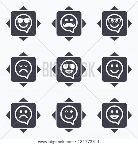 Icons with direction arrows. Smile speech bubbles icons. Happy, sad and wink faces signs. Sunglasses, mustache and laughing lol smiley symbols. Square buttons.