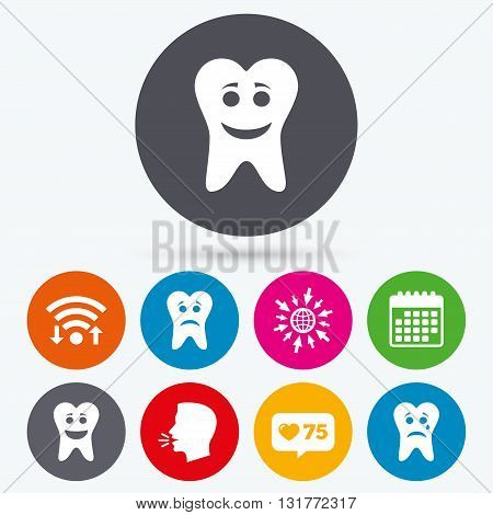 Wifi, like counter and calendar icons. Tooth smile face icons. Happy, sad, cry signs. Happy smiley chat symbol. Sadness depression and crying signs. Human talk, go to web.