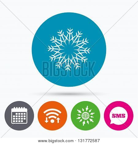 Wifi, Sms and calendar icons. Snowflake artistic sign icon. Christmas and New year winter symbol. Air conditioning symbol. Go to web globe.