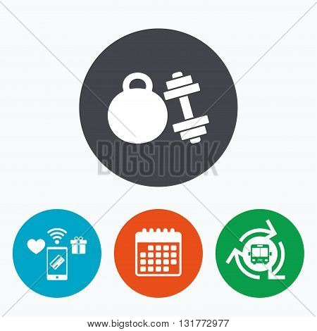 Dumbbell with kettlebell sign icon. Fitness sport symbol. Gym workout equipment. Mobile payments, calendar and wifi icons. Bus shuttle.