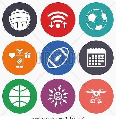 Wifi, mobile payments and drones icons. Sport balls icons. Volleyball, Basketball, Soccer and American football signs. Team sport games. Calendar symbol.