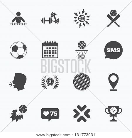 Calendar, go to web and like counter. Sport games, fitness icons. Football, basketball and baseball signs. Swimming, fireball and winner cup symbols. Sms speech bubble, talk symbols.