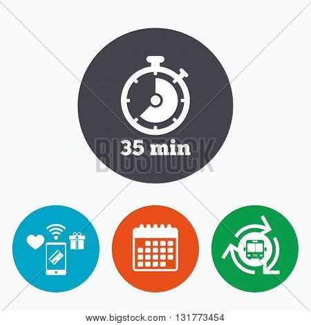 Timer sign icon. 35 minutes stopwatch symbol. Mobile payments, calendar and wifi icons. Bus shuttle.