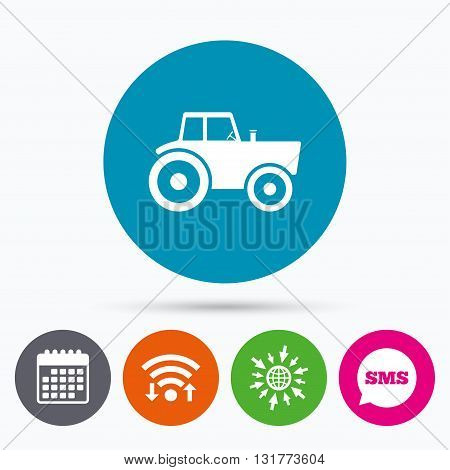 Wifi, Sms and calendar icons. Tractor sign icon. Agricultural industry symbol. Go to web globe.