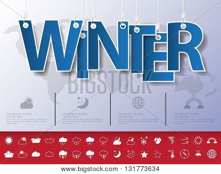 Design Abstract Infographic Front On The Rope.vector/illustration.winter Icon Set.