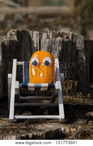 Funny pepper with eyes in a lounger