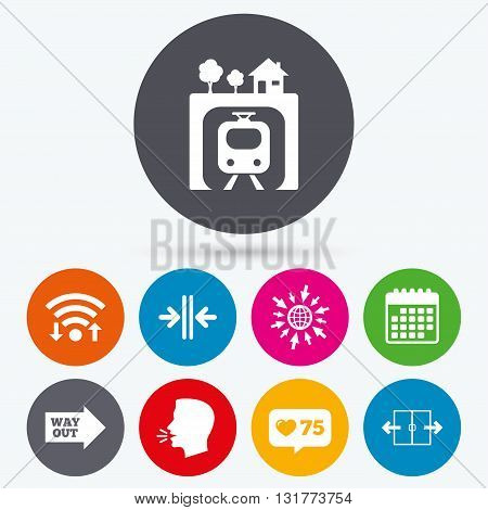 Wifi, like counter and calendar icons. Underground metro train icon. Automatic door symbol. Way out arrow sign. Human talk, go to web.