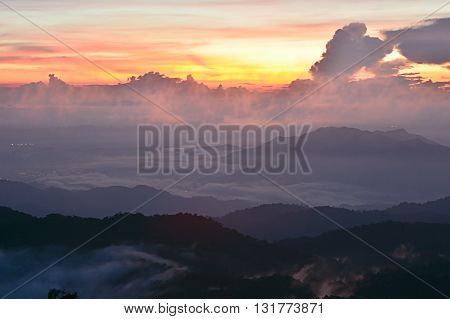 Sunset Mountain with mist at Genting Highland, Malaysia