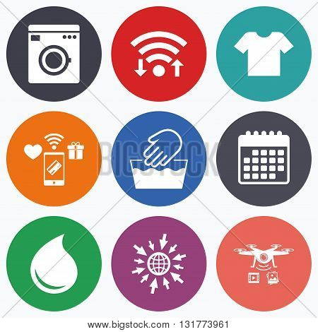 Wifi, mobile payments and drones icons. Wash machine icon. Hand wash. T-shirt clothes symbol. Laundry washhouse and water drop signs. Not machine washable. Calendar symbol.