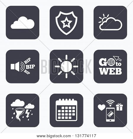 Mobile payments, wifi and calendar icons. Weather icons. Cloud and sun signs. Storm or thunderstorm with lightning symbol. Gale hurricane. Go to web symbol.