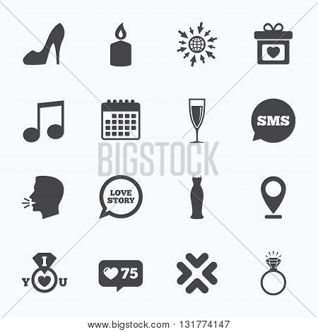 Calendar, go to web and like counter. Wedding, engagement icons. Ring with diamond, gift box and music signs. Dress, shoes and champagne glass symbols. Sms speech bubble, talk symbols.