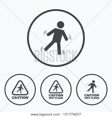 Caution wet floor icons. Human falling triangle symbol. Slippery surface sign. Icons in circles.