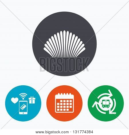 Sea shell sign icon. Conch symbol. Travel icon. Mobile payments, calendar and wifi icons. Bus shuttle.