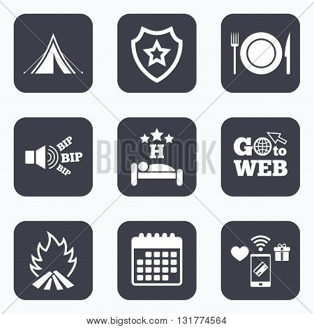 Mobile payments, wifi and calendar icons. Food, sleep, camping tent and fire icons. Knife, fork and dish. Hotel or bed and breakfast. Road signs. Go to web symbol.