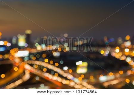 Abstract blurred lights, city downtown and interchanged road night view