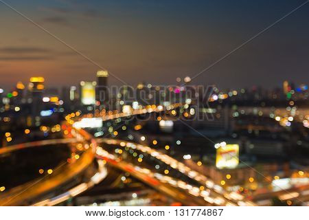 City blurred lights background and highway interchanged, abstract background