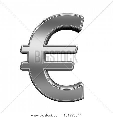 Euro sign from titanium alphabet set, isolated on white. 3D illustration.
